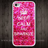 iphone case 4s, iphone 4 case, iPhone 4s Case, Keep Calm and sparkle Painting white hard case for iphone 4, iphone 4S