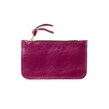 Magenta credit card holder, leather coin purse by Leah Lerner