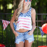 Flag Print Sleeveless Crop Top