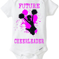 "New Baby Gift: ""Future Cheerleader"" Infant Shirt! Sports / Sporty Baby Girl! Embellished Gerber Onesuit brand body suit - Hot Pink"