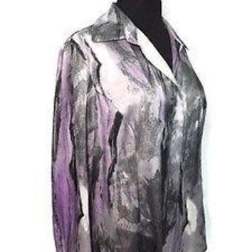 2ff4a6158 JONES NEW YORK Collection Purple Gray Blend womens Shirt Top Blo