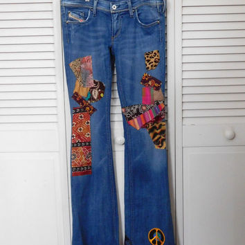 Patch Jeans Hippie Patched Hip Huger Hidden Stash Pocket Festival Clothing Boho Style Clothes Diesel Jean Upcycle Reworked Bell Bottom Flair