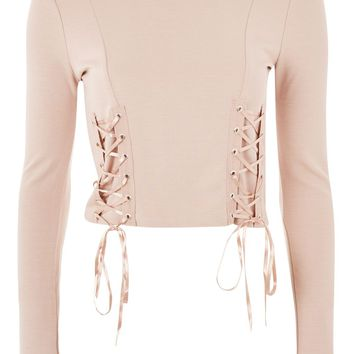 Lace Up Long Sleeve Top - New In Fashion - New In