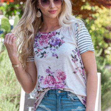 Striped Sleeve Spring Floral Top
