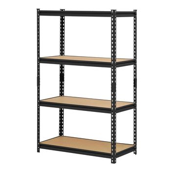 Black Metal Industrial Shelving Unit with 4 Adjustable Shelves 60-inch Height