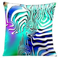 Lama Kasso Contempo White and Black Graphics on a Peacock Blue Satin 18-Inch Square Pillow, Design on Both Sides