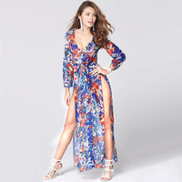 Chiffon Summer Beach Split V-neck Sexy Print One Piece Dress = 5893160257