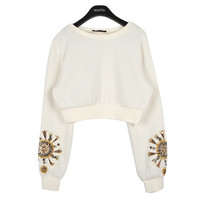 Long-sleeved Crop Pullover w/ Bead Detail   FashionShop【STYLENANDA】
