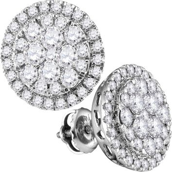 14kt White Gold Womens Round Diamond Flower Cluster Circle Frame Earrings 1.00 Cttw