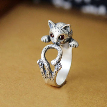 Summer Style Hippie Vintage Anel Punk Kitty Wedding Boho Chic Brass Knuckle Animal Cat Rings For Women Jewelry DWJZ337