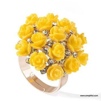 Rose flower resin adjustable Finger ring