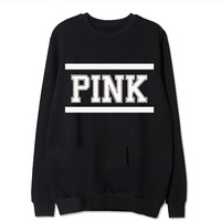 PINK Women's Fashion Print Long Sleevd Pullover Tops Sweater Black/White