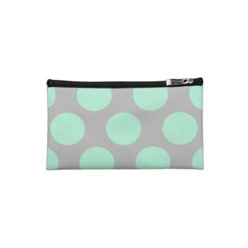 Polka Dots Mint And Gray Medium Cosmetic Bag from Zazzle.com