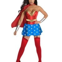 Secret Wishes Womens DC Comics Wonder Woman Corset Costume, Red/White/Blue, Medium