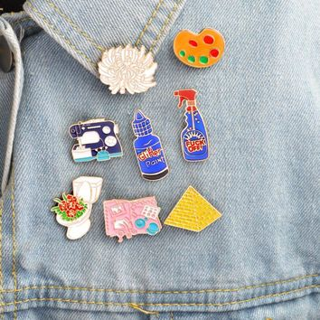 Trendy Hfarich Enamel pins Toilet flower Sewing machine Palette pyramid paint Hand tools Brooch Button Pin Denim Jacket Pin Badge Gift AT_94_13