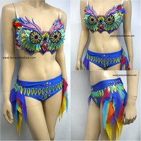 EDC Electric Daisy Carnival Owl Bra and Shorts Costume