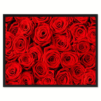 Red Roses Flower Framed Canvas Print Home Décor Wall Art