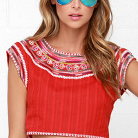 Billabong Chica Amiga Red Embroidered Crop Top
