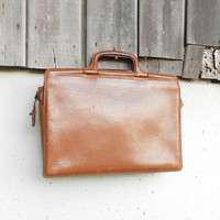 Vintage Brown Tan Leather 11-13 inch Laptop Briefcase With Handle // Medium