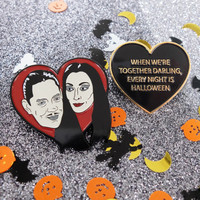 Gomez & Morticia Addams Family heart love enamel lapel pin. Badge spooky halloween Adams brooch hat pin button horror film black red creepy