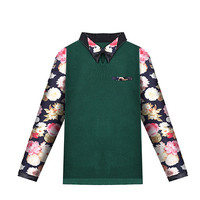 Floral PU Leather Accent Pointed Flat Collar Long Sleeve Sweaters