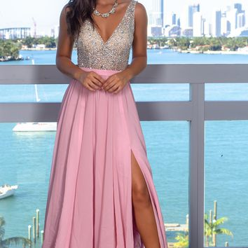 Dusty Rose Maxi Dress with Silver Jewels