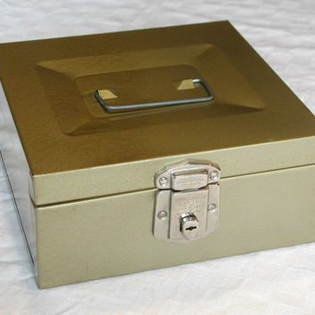 Vintage Metal File Box - Gold Porta File by Hamilton Skotch Vintage Office