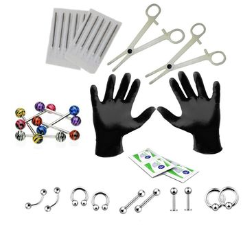 BodyJ4You Body Piercing Kit 14G Tongue 14 Gauge Jewelry Set 26 Pieces