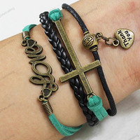 "thank you"" Bracelets-- green rope bracelets ,cross bracelets,charm wristband,personalized idea ,thankful gifts0375"