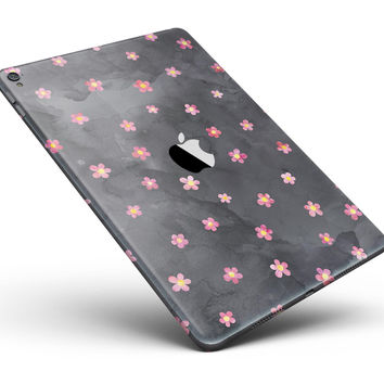"Cute Watercolor Flowers over Black Full Body Skin for the iPad Pro (12.9"" or 9.7"" available)"