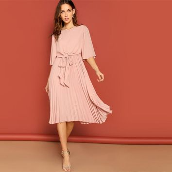 Pink Knot Front Zip Bell Sleeve Round Neck Solid Plain Dress Women Three Quarter Length Sleeve Solid Dresses
