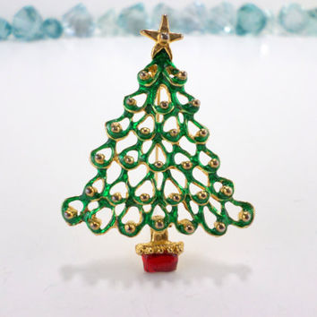 Christmas Tree Pin Green Brooch Holiday Tree with Ornaments Decoration Scarf Coat Vintage Christmas Xmas Star Tree Brooch Pin