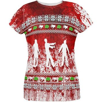 ONETOW Ugly Christmas Sweater Bloody Zombie Attack Survivor All Over Womens T Shirt