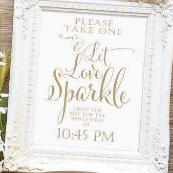 "Let Love Sparkle Sign - 8x10 or 11x14 sign - Printable sign - ""Bella"" antique gold script - I Create and You Print"