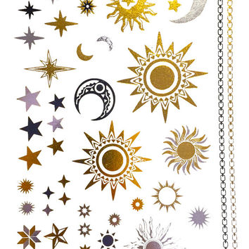 Starry Night Metallic Temporary Tattoo Gold Silver Festival Beach Holiday Feather Stars Gift Present Flash Tattoo Birthday Anniversary
