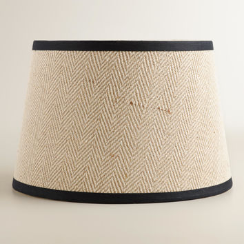 Cream Herringbone Accent Lamp Shade - World Market