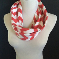 Get this Super Cute Bitter Apple Red Jersey Knit Fashion Infinity Chevron Scarf