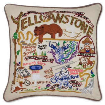Yellowstone Hand Embroidered Pillow