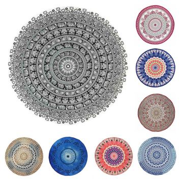 Mandala Round Tapestry Polyester Cloth Beach Mat Indian Yoga Mat Thin Beach Shawl Wall Tapestry Home Decor Women Shawl