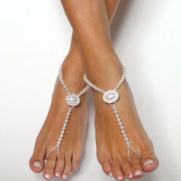Barefoot Sandals for Beach Wedding Destination Wedding Shoes Barefoot Bride in Snow White Pearls