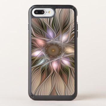 Joyful Flower Abstract Beige Brown Floral Fractal Speck iPhone Case