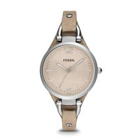 Fossil Women's Georgia ES2830 Beige Leather Analog Quartz Watch with Beige Dial - Free Shipping Today - Overstock.com - 16371147 - Mobile