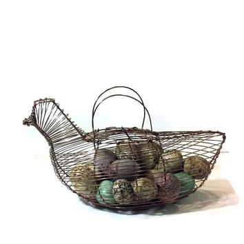 Vintage Copper Chicken Shaped Egg Basket - Hostess Gift- French, Shabby Chic, Cottage Chic, Country, Farmhouse Decor - Gift Idea