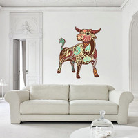 Full Color Wall Decal Mural Sticker Decor Art Beautyfull Cute Taurus Bull Cow Zodiac Sign (col582)
