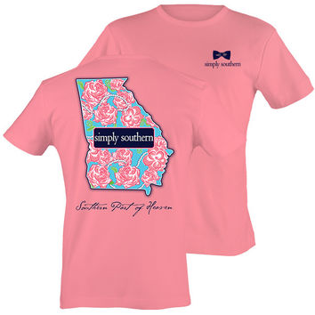 Simply Southern Georgia Preppy State Rose Pattern T-Shirt
