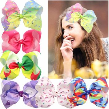 6 Pcs 8 Inches Big Larger Grosgrain Ribbon Boutique Bling Sparkly Unicorn Rainbow Hair Bows Clips For Teeny Girls Gifts