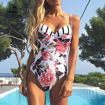 Adjustable Floral Printed One piece Swimsuit for Women