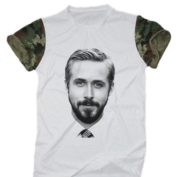 Ryan Gosling Shirt White Camo Camouflage T-Shirt Size S M L