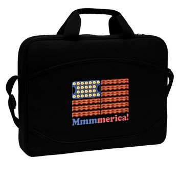 "American Breakfast Flag - Bacon and Eggs - Mmmmerica 15"" Dark Laptop / Tablet Case Bag by TooLoud"
