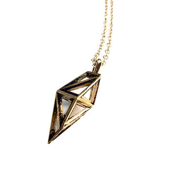 Geo frame pendant necklace